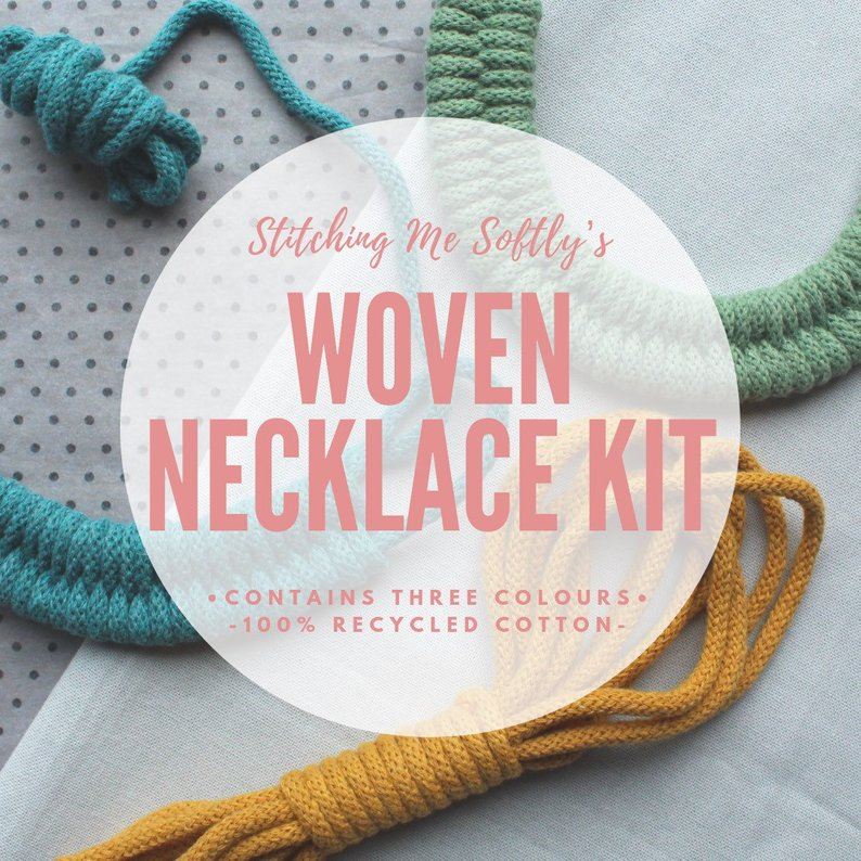 Make Your Own Woven Cotton Necklace Kit by Stitching Me Softly