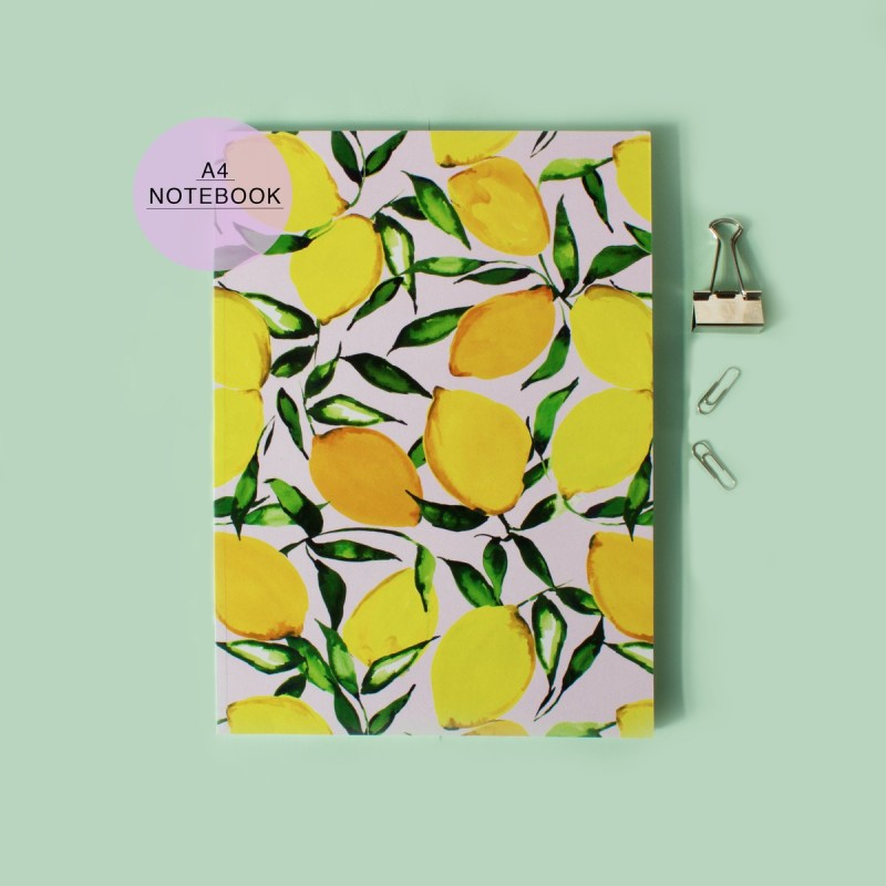 Yellow Citrus Lemons A4 Notebook with lined pages by Nikki Strange