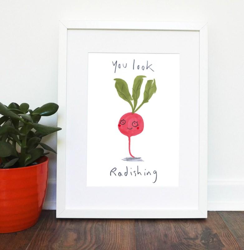 You Look Radishing A4 unframed print by Jo Clark