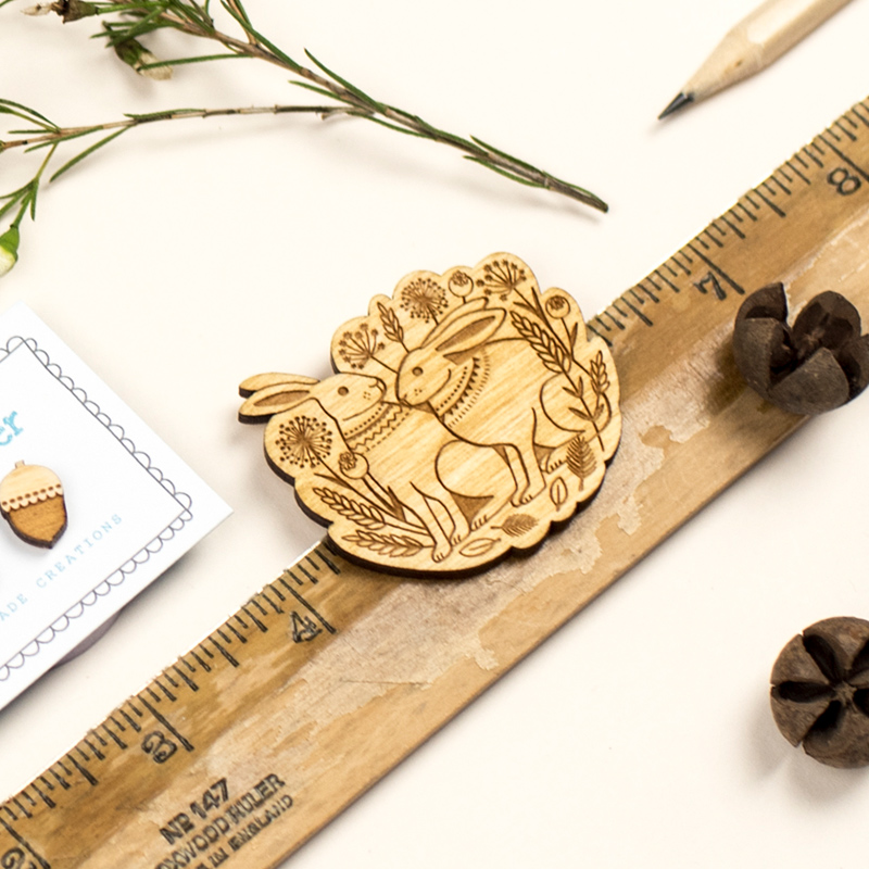 Spring Hares Brooch by Layla Amber
