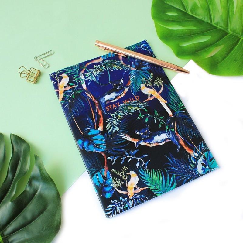 'Stay Wild' Metallic Copper Foil/Nocturnal Jungle A5 Notebook by Nikki Strange