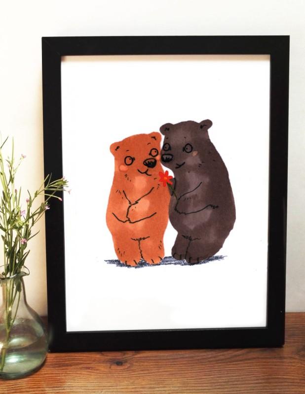 Bear Love A4 unframed print by Jo Clark