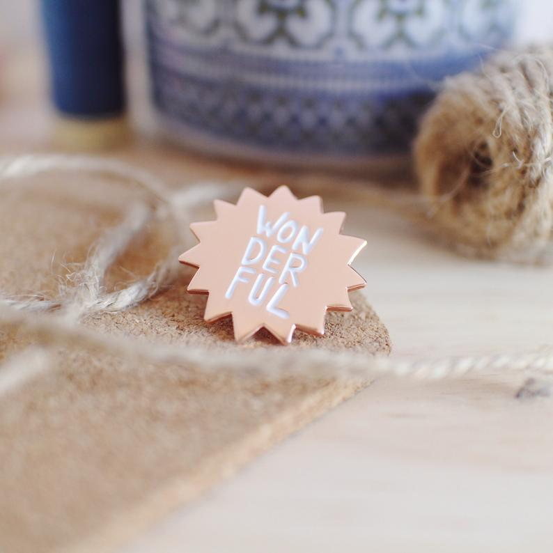 Rose Gold Enamel Wonderful Pin of Positivity by HahOnline