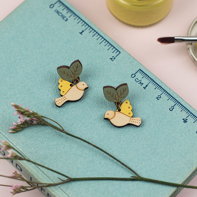 Flying Bird Drop Stud Earrings by Layla Amber