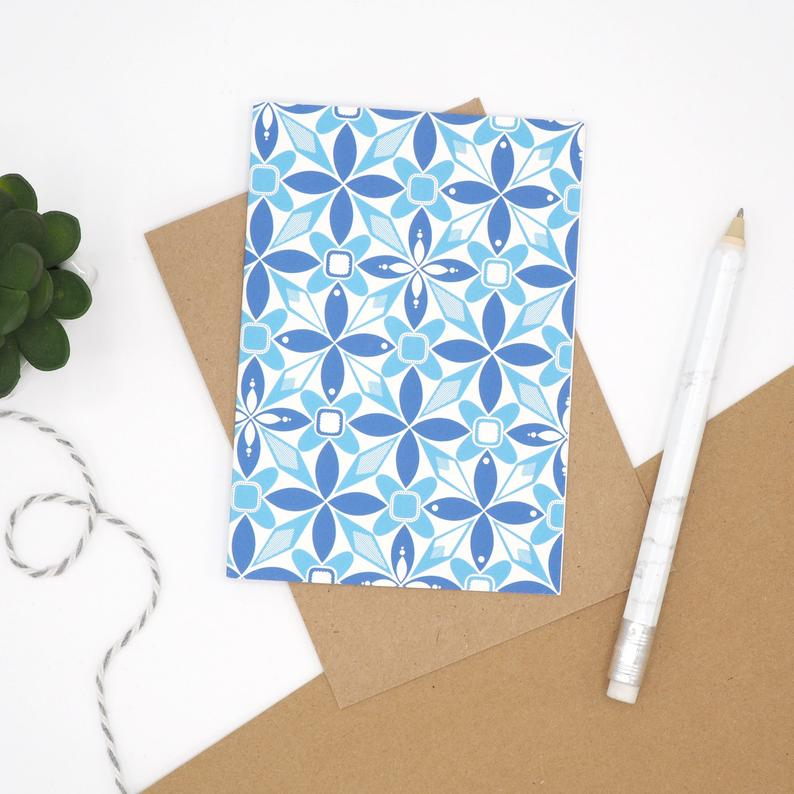Blue Geometric Notecard by Harriet Emily