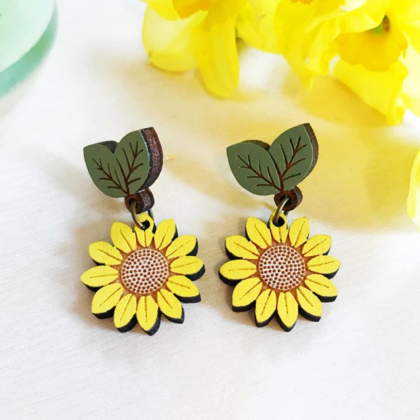 Wild Sunflower Drop Stud Earrings by Layla Amber