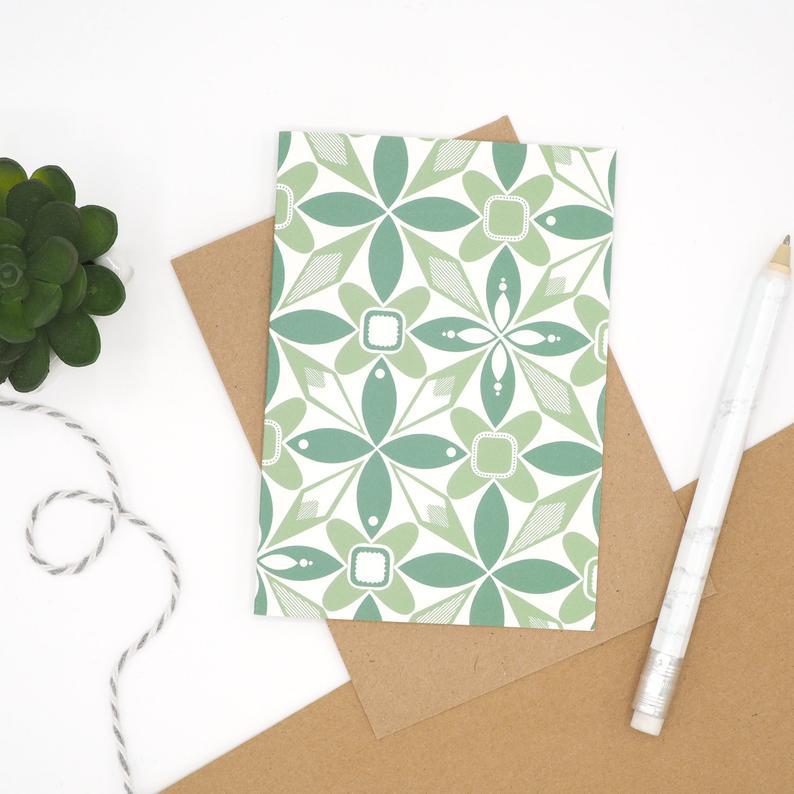 Green Geometric Notecard by Harriet Emily
