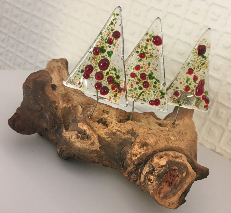Fused glass Christmas trees on driftwood