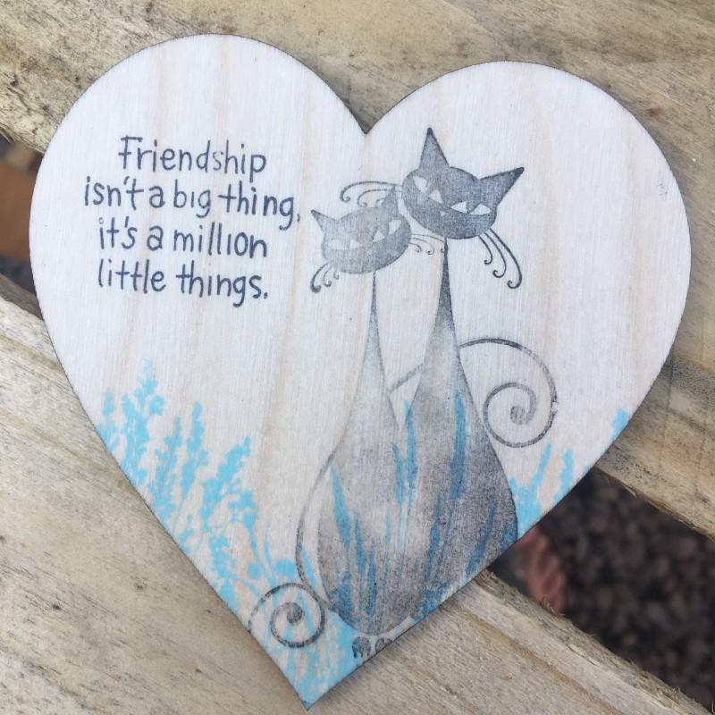 Wooden heart cat coaster / hanging 10cm
