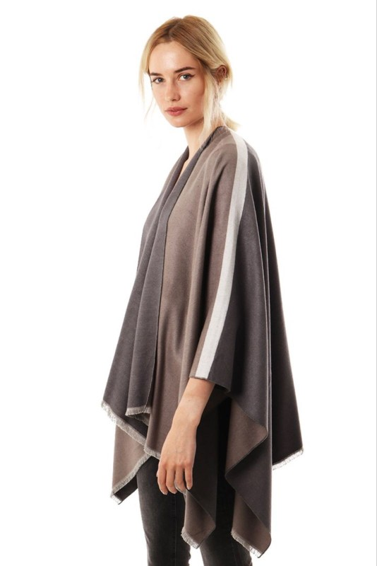 Reversible 2 Tone Cape with Stripe Sleeve - Grey/Brown
