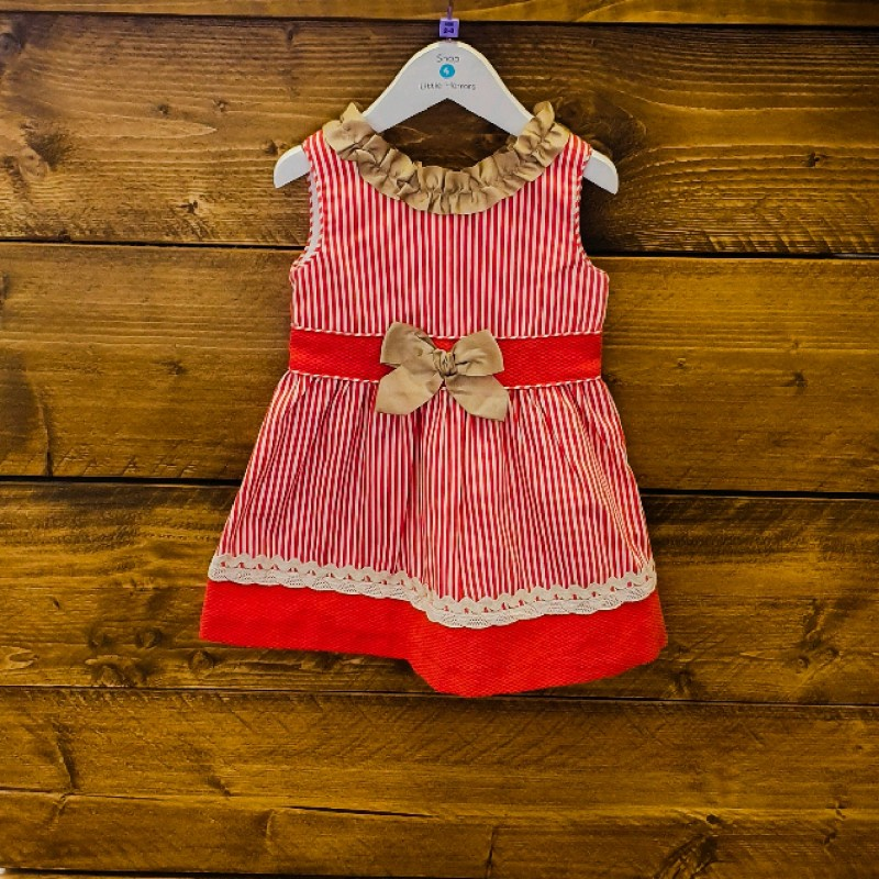 MIRANDA DRESS CORAL/BEIGE 2YR