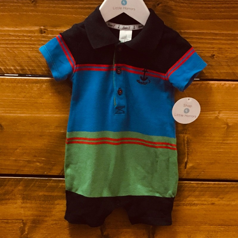 JUNIOR J BLUE/GREEN ROMPER 6-9M