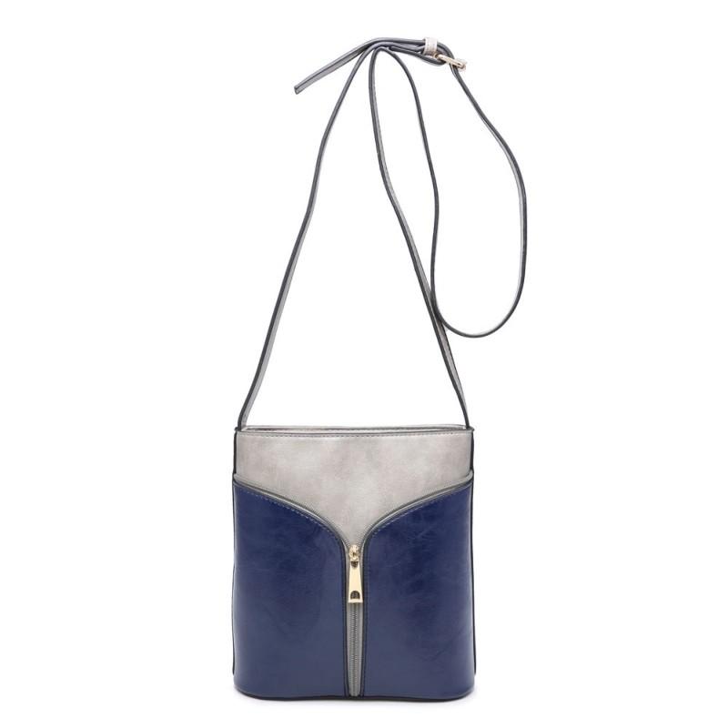 2 Tone Zip Cross Body Bag - Grey/Navy