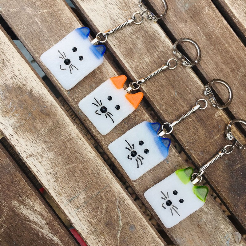 Cat keyring fused glass