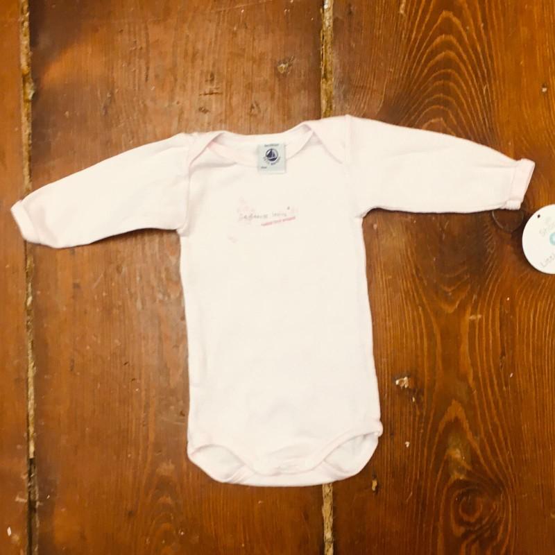 PETIT BATEAU PINK/WHITE BODYSUIT 0-3M
