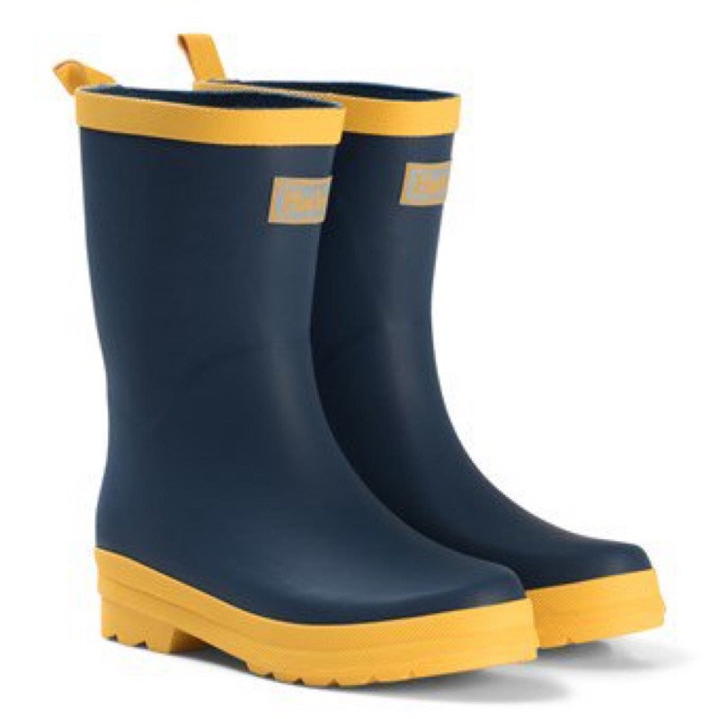 Hatley Navy & Yellow Matte Welly Boots