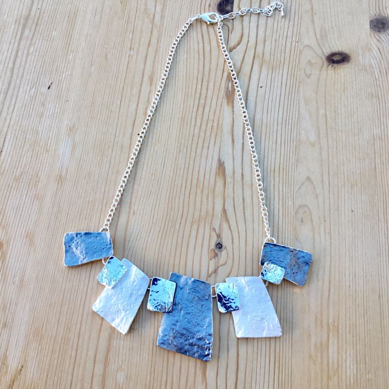 Hammered Rectangle Necklace - Grey
