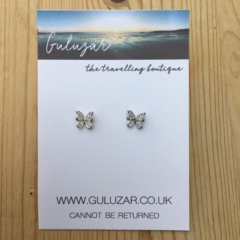 Butterfly Stud Earrings - Silver