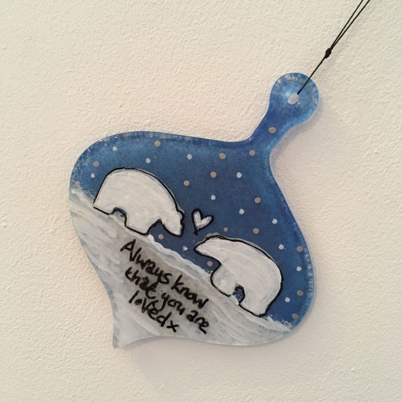 Fused glass hand painted teardrop polar bear bauble - can personalise