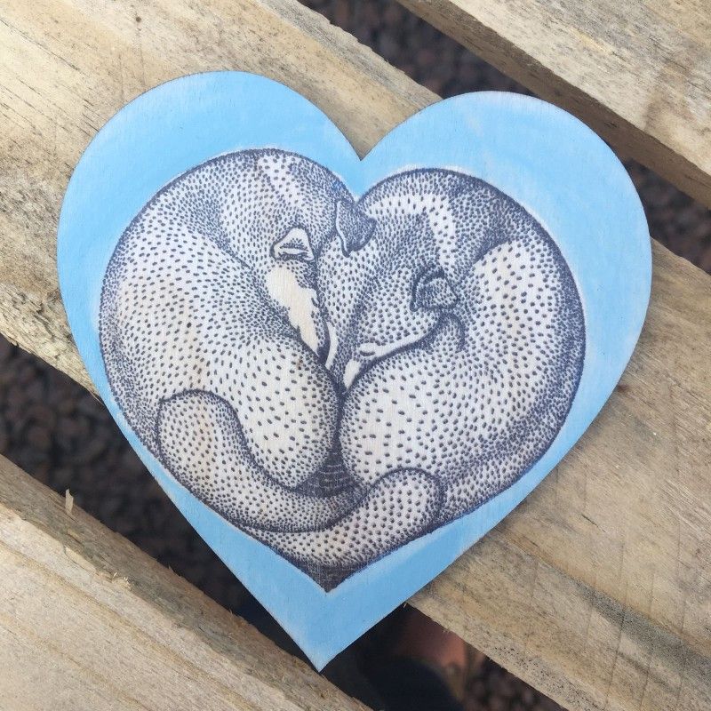 Wooden heart foxes coaster/ hanging 10cm