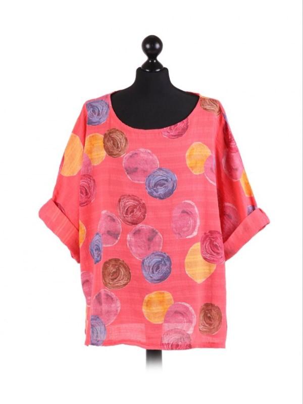 Italian Multicolor Polka Dot Cotton Crop Lagenlook Top - Coral
