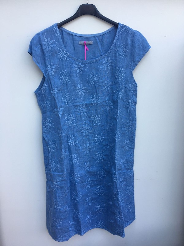 Embroidered Linen Floral Dress - Cornflower