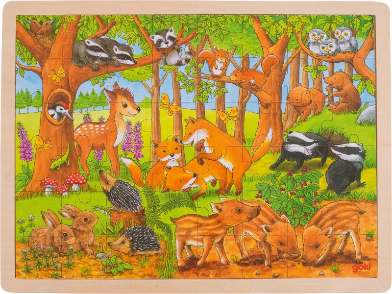 Puzzle baby animals in the forest