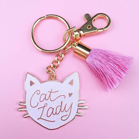 Cat Lady Keychain Black Pink