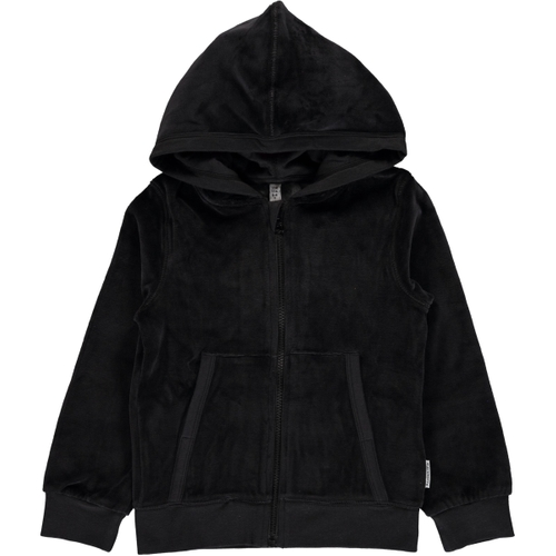 Cardigan Hood Velour BLACK