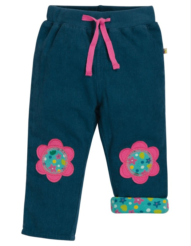 Frugi Little Cord Patch Trousers Space Blue Flower
