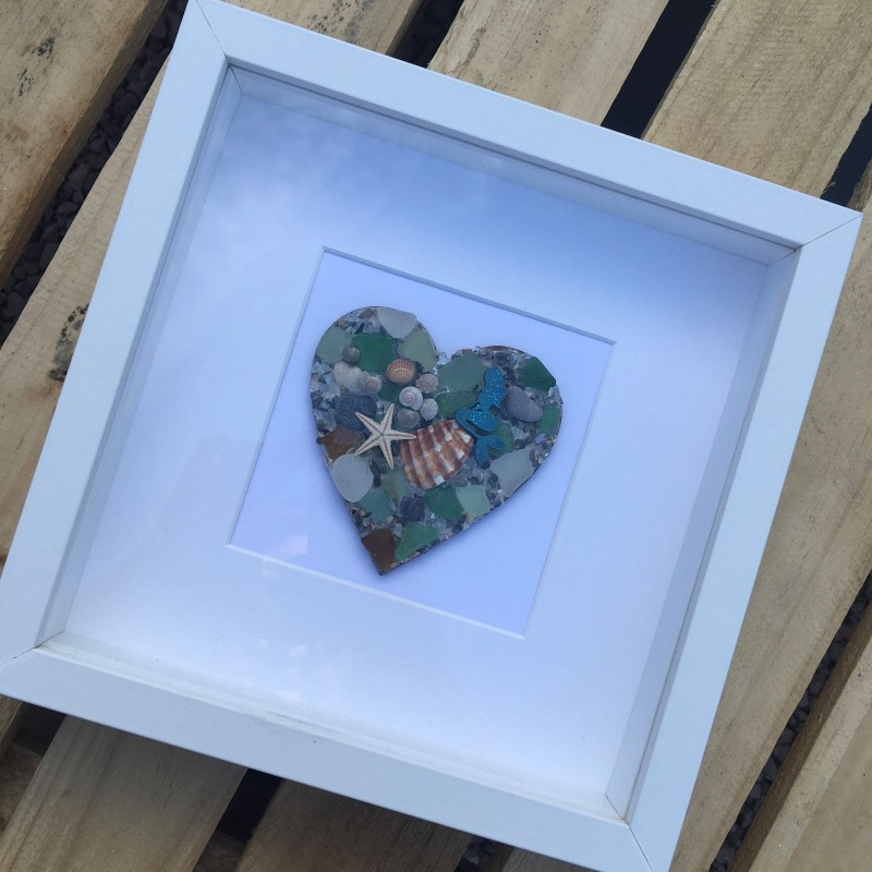 Seaglass heart mermaid picture 25.5x 25.5cm