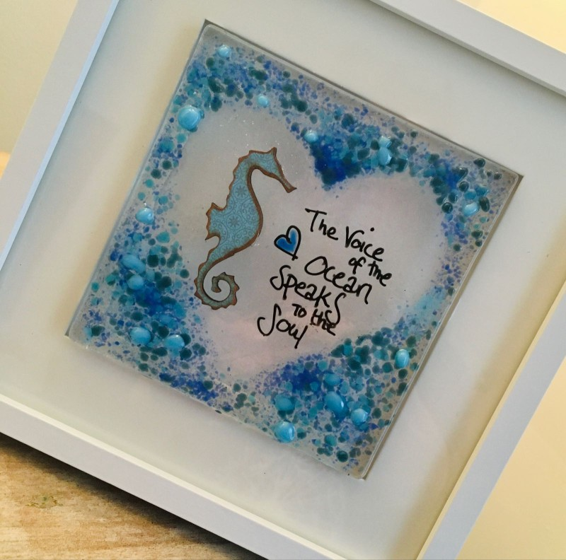 Fused glass  seahorse  frame