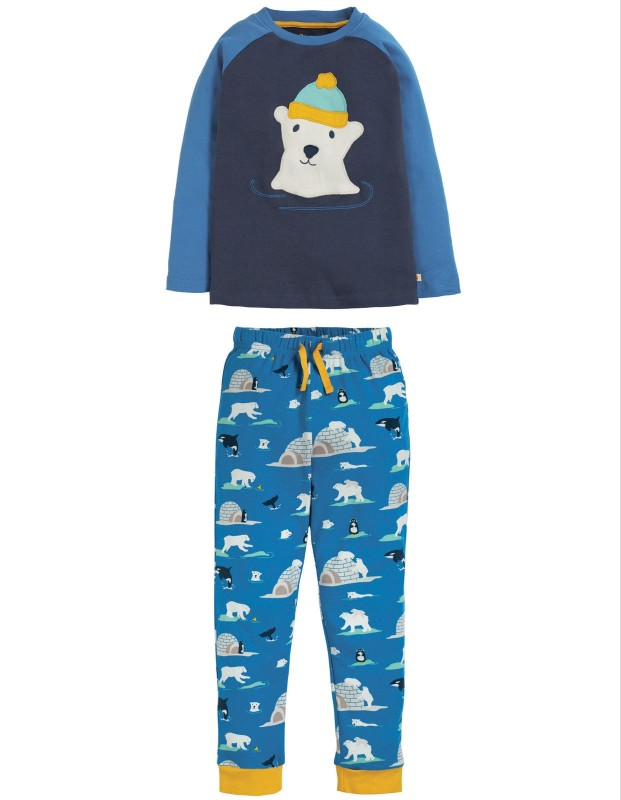 Frugi Jamie Jim Jams Space Blue Polar Bear