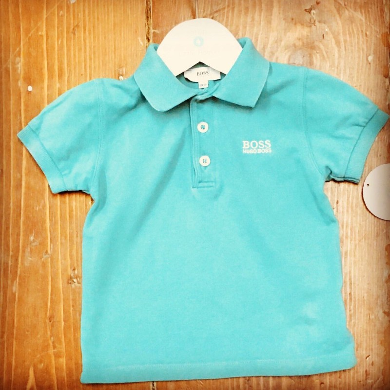 BOSS GREEN POLO TOP WITH BOSS LOGO ON THE FRONT 18M