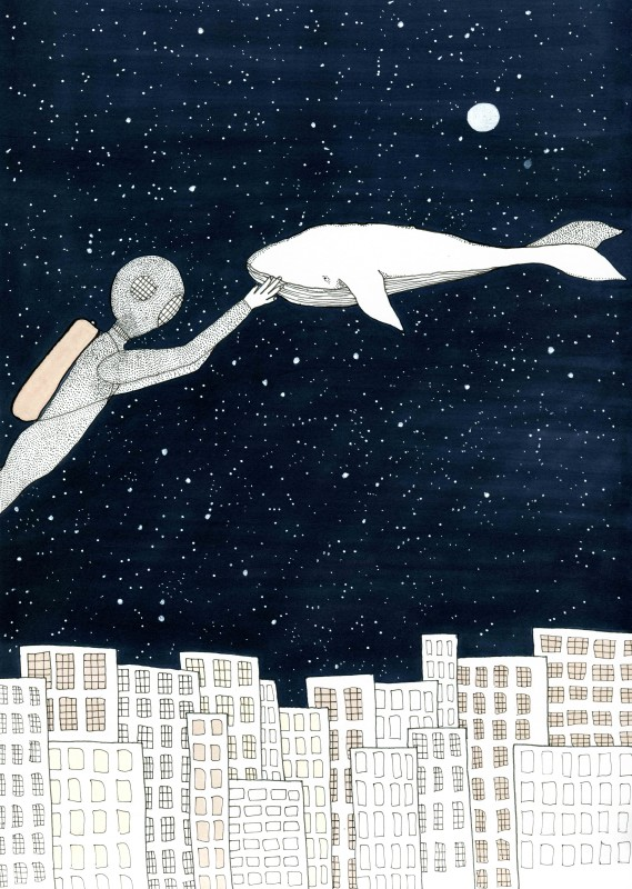 Whale in space (2 sizes) (Free shipping)