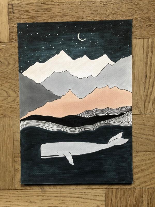 Whale & moon (Original)
