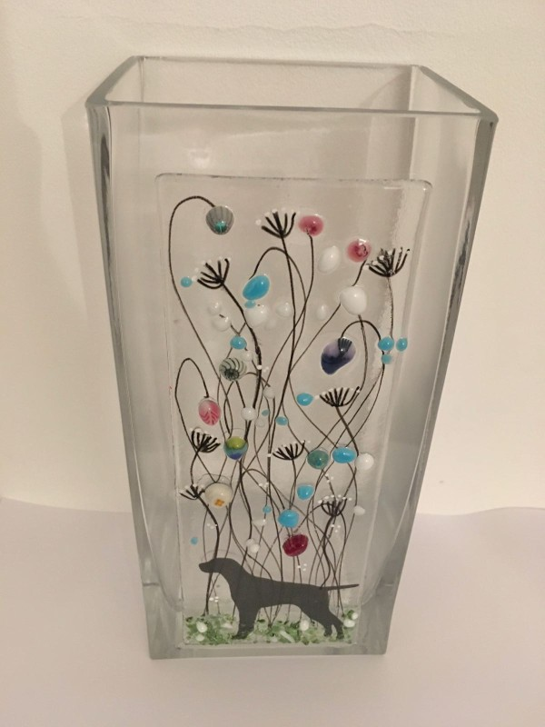 Fused glass meadow flower panel vase with pointer detail  22cm height