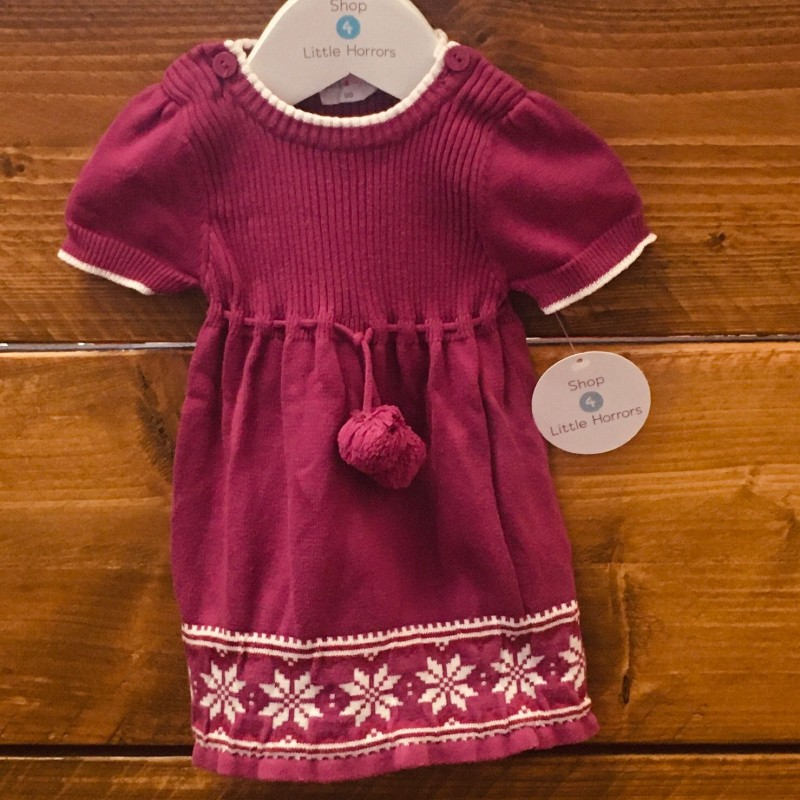 JACK AND MILLY PURPLE KNITTED DRESS NEWBORN UP TO 10LBS