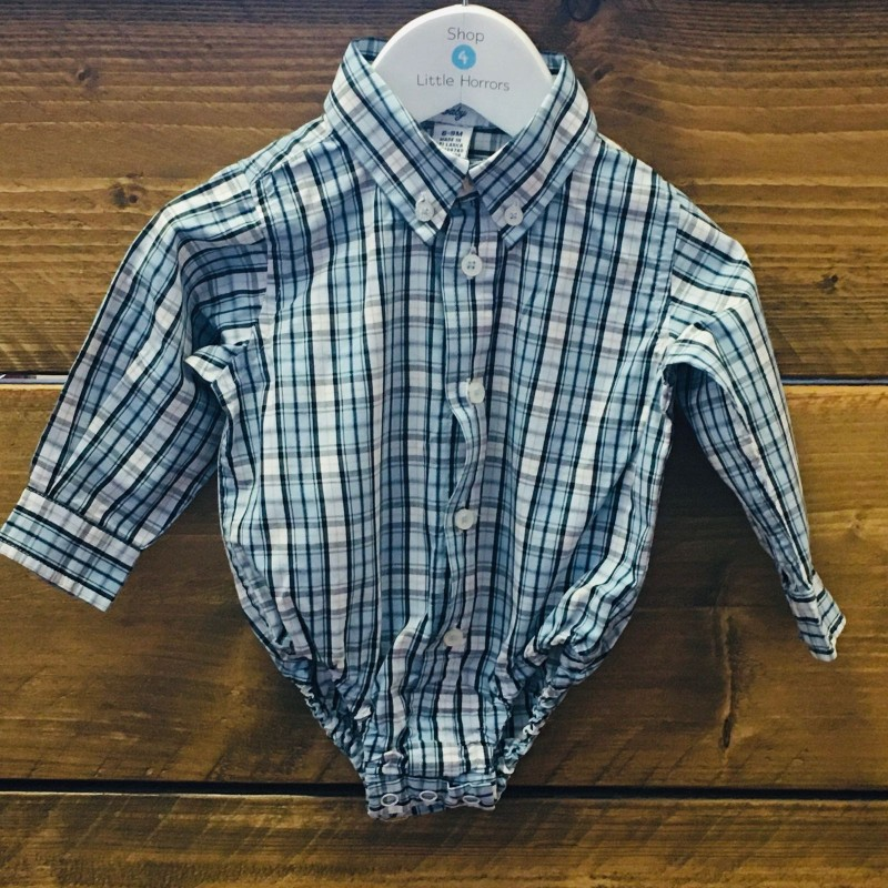 KITESTRINGS BY HARTSTRINGS  BABY BLUE/WHITE CHECK ROMPER 6-9M