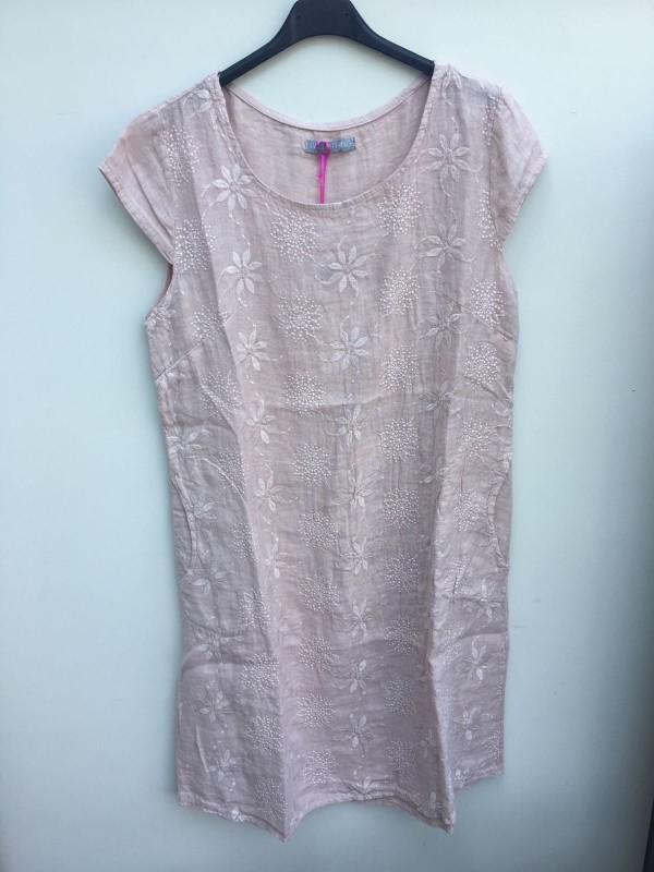 Embroidered Linen Floral Dress - Blush Pink