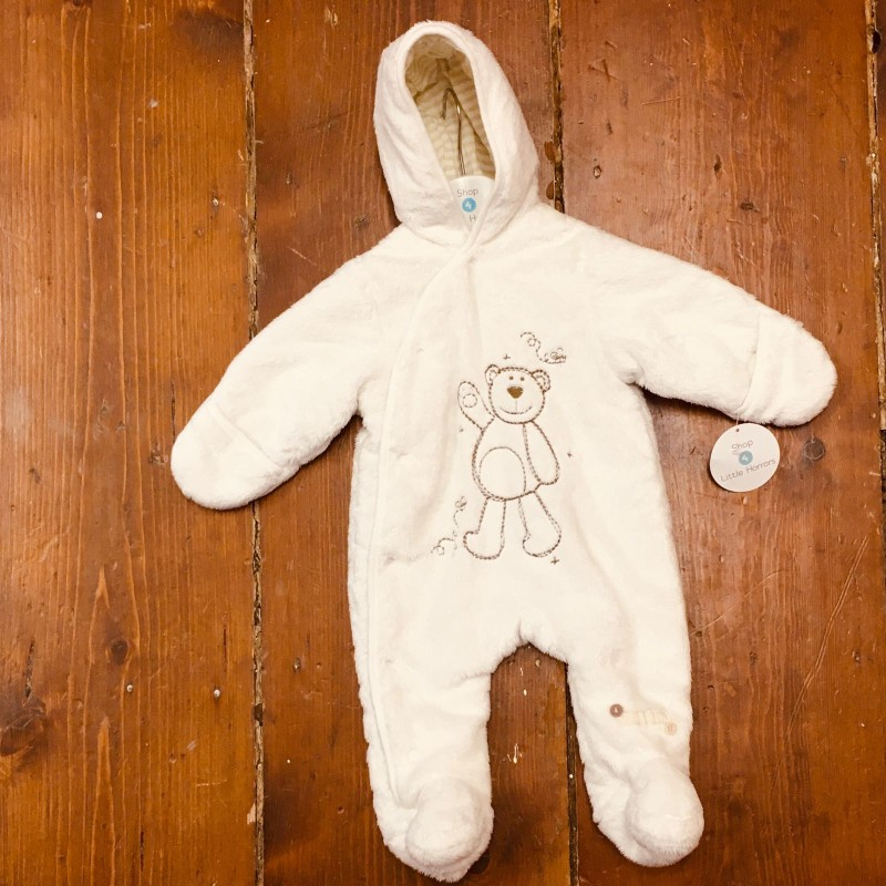 BABALUNO WHITE PRAMSUIT NEWBORN UP TO 10LBS