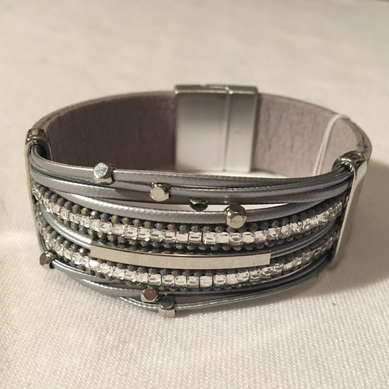 Magnetic Strap Crystal Bracelet - Silver