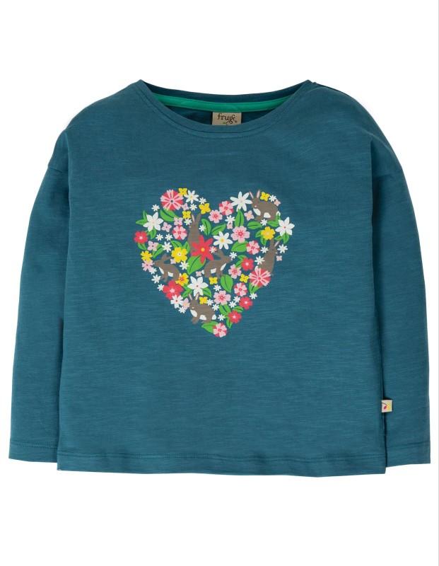 Frugi Bethany Boxy Top, Steely Blue/Heart