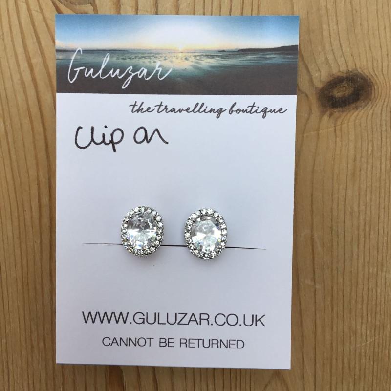 Clip On Oval Diamanté Earrings - Silver