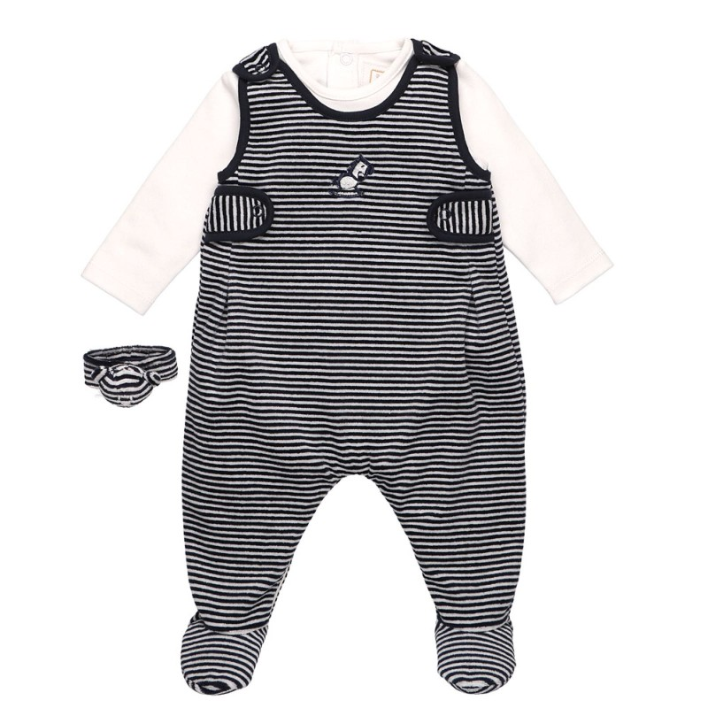 Emile et Rose Rocky Velour Dungaree Outfit with Rattle