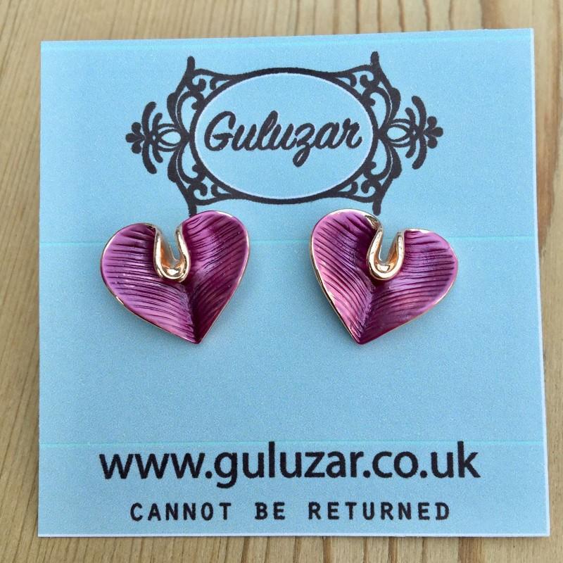 Lily Heart Earrings - Rose Gold