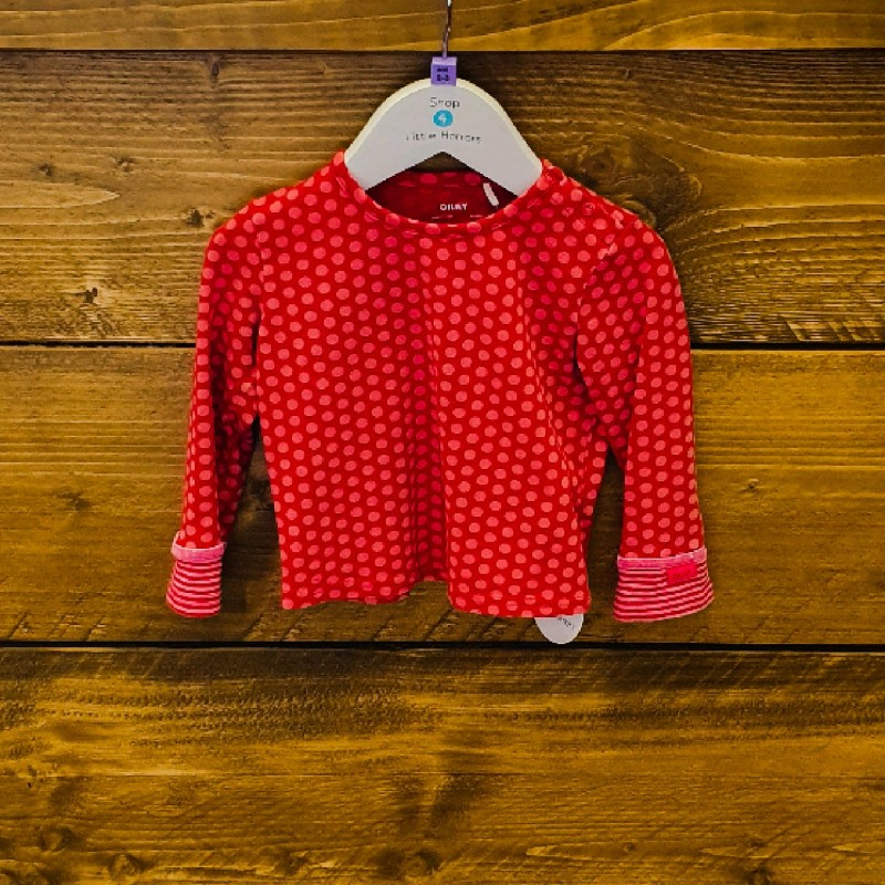 OILILY RED SPOTTED TOP WITH STRIPY CUFFS 2YR