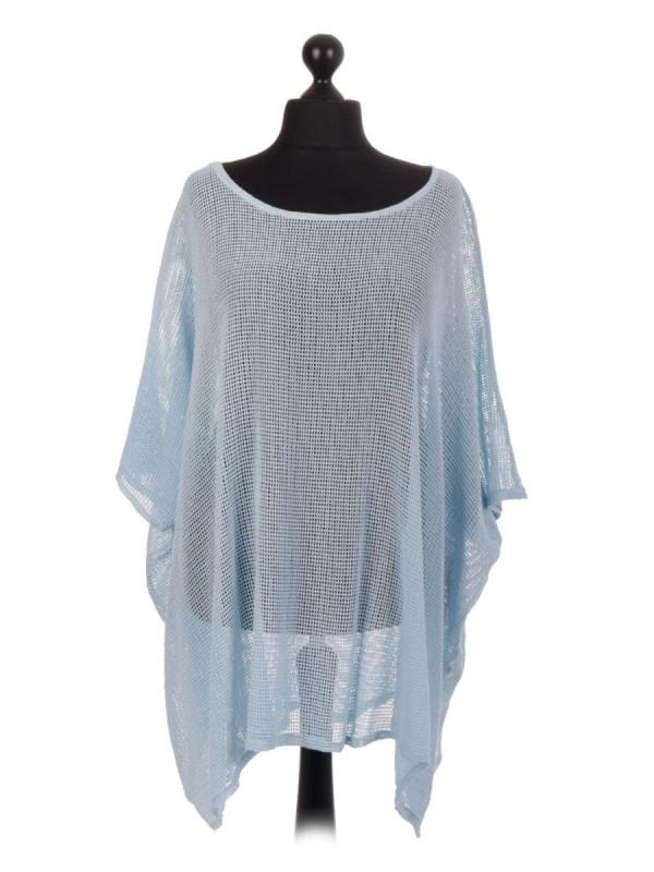 Italian Cotton Mesh Net Batwing Top - Sky Blue