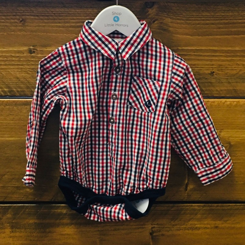 JOJO MAMAN BEBE RED/BLUE CHECK BODYSUIT 6-12M