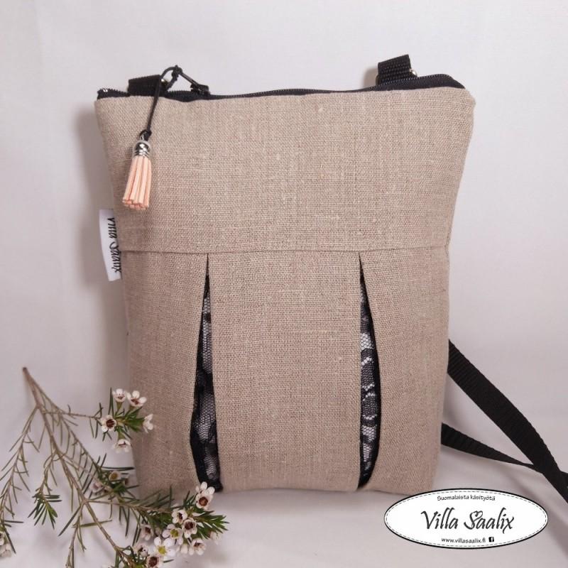 Pilkahdus-laukku Pellava/mustapitsipilkahdus